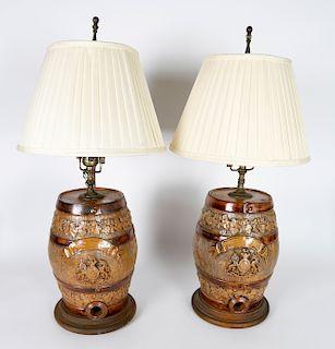 Pair of 19th Century Scottish Stoneware Whiskey Dispenser Barrel Lamps