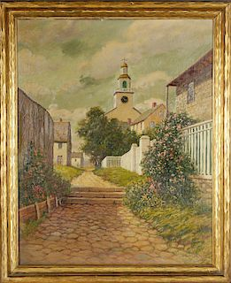 """T. Bailey Oil on Canvas """"View of Stone Alley & Congregational Church"""""""