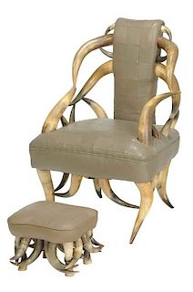 Leather Steer Horn Armchair and Footrest