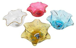 12 Colored Glass Finger Bowls