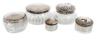 11 Sterling Lidded Dresser Jars