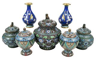 Seven Pieces Chinese Cloisonne