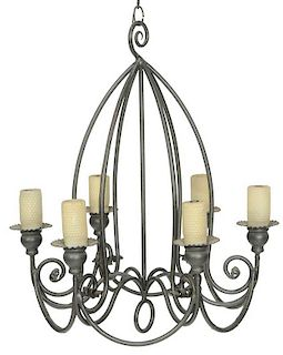 Provincial Style Wrought Iron Chandelier