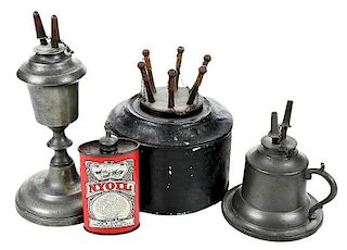 Collection of Three Whale Oil Lamps with Oil Can