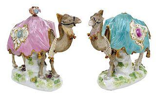 Pair Porcelain Camels