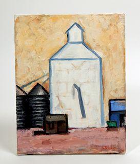 "L. Dennis Painting - ""Grain Elevator, Burlington"" 2004"