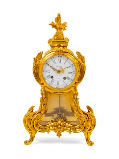 A Louis XV Style Gilt Bronze Mantel Clock