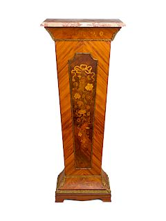 A French Gilt Bronze Mounted Marquetry Pedestal