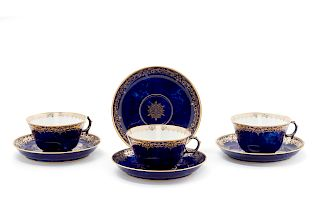A Group of Sèvres Porcelain Teacups and Saucers