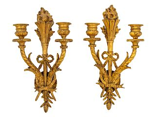 A Pair of Neoclassical Giltwood Two-Light Sconces