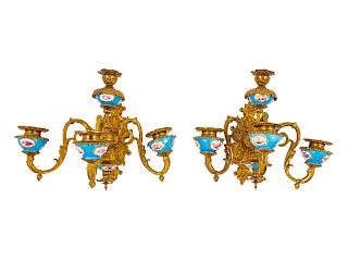 A Pair of Sèvres Style Porcelain and Gilt Bronze Four-Light Sconces