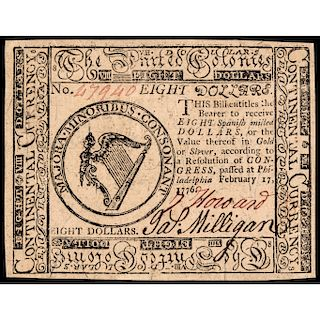Continental Currency, February 17, 1776 $8 PCGS Choice About New-55 PPQ