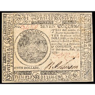 Continental Currency, February 26, 1777 $7 Baltimore Issue Choice Uncirculated