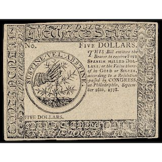 Continental Currency, Sept. 26, 1778 Continental $5 Blue Detector PMG Ch. AU-58