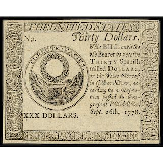 Continental Currency, Sept 26, 1778 $30 Blue Paper Detector, PCGS Ch. New-63 PPQ