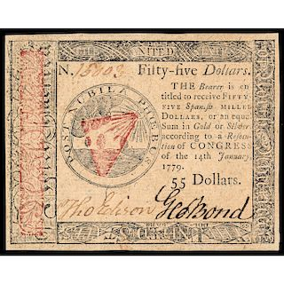 Continental Currency, January 14th, 1779, 55 Dollars, Choice Crisp Uncirculated
