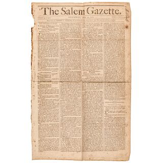 Lot of Three Items, Old Continental Money + Lottery Salem Gazette Related