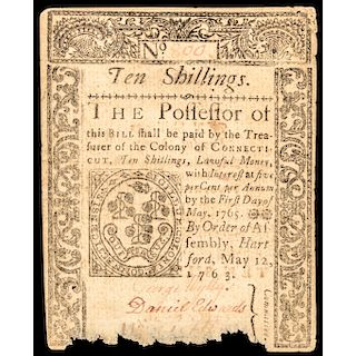 Colonial Currency, Connecticut May 12, 1763 Ten Shillings Genuine PCGS EF-40