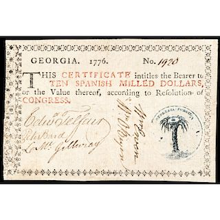 Colonial Currency, Georgia. 1776 Light Blue Seal $10 Millstone on Palm Tree Note