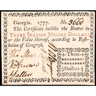 Colonial Currency, GA. 1777 $3 Typeset Note Choice EF to About Uncirculated