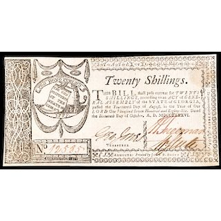 Colonial Currency, GA. Oct. 16, 1786, 20s. Choice About Unc. Bold and Vivid