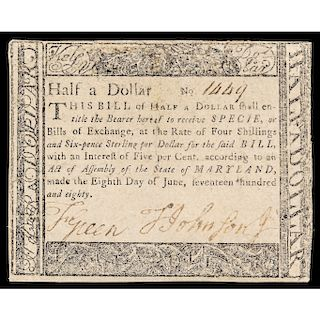 Colonial Currency, Maryland June 8, 1780 Half a Dollar BLACK MONEY Note Rarity!