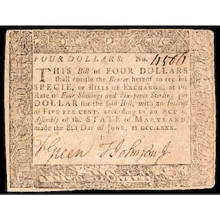 Colonial Currency, Exceedingly Rare Maryland, June 8, 1780 $4 BLACK MONEY Note