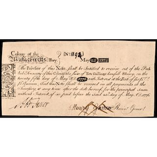 Colonial Currency, MA. Historic 1775 PAUL REVERE, JR. Engraved Copper Plate Note