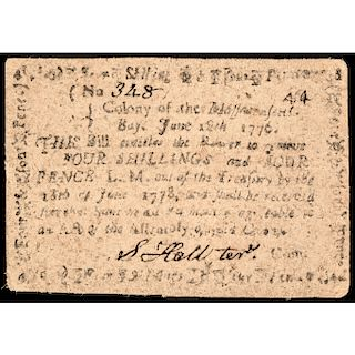 Colonial Currency, MA. June 18, 1776 4s4d Note, Impressive Choice Very Fine