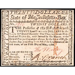 Colonial Currency, Mass. May 5, 1780 $20 UNITED STATES GUARANTEED Issue Cft. CU