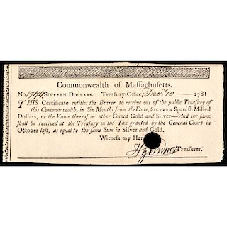 Colonial Currency, MA, 1781, 16 Spanish Milled Dollars Treasurers Certificate