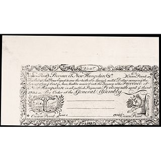 Colonial Currency, NH April 3, 1755. Cohen Reprint from Original Copper-Plate