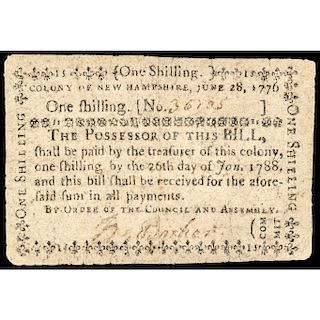 Colonial Currency, New Hampshire, June 28, 1776, One Shilling Choice Very Fine