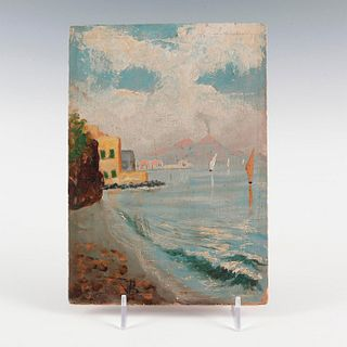 SCENE FROM A BEACH, OIL ON BOARD