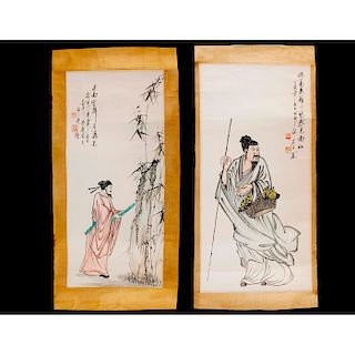 GROUP OF TWO CHINESE PRINT SCROLLS, SIGNED AND MARKED