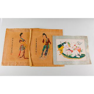 GROUP OF THREE CHINESE COLOR PRINTS, GUANYIN, CRANE, BAT