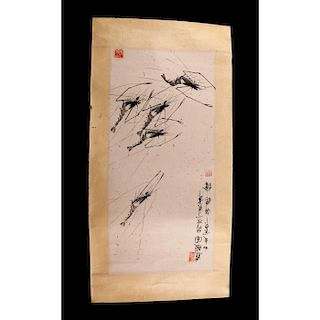 CHINESE PRINT SCROLL, IN THE STYLE OF QI BAISHI, SHRIMPS OF HAPPINESS