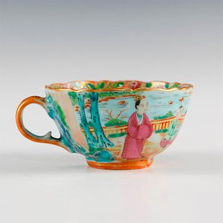 GILT AND COLOR GLAZED SCALLOPED CHINA TEACUP