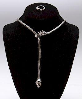 John Hardy Naga Silver Dragon Necklace & Ring