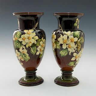 PAIR OF DOULTON LAMBETH ARTS AND CRAFTS FAIENCE VASES
