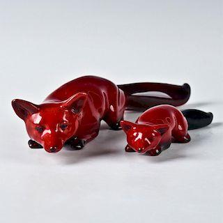 PAIR OF ROYAL DOULTON FLAMBE FOX ANIMAL FIGURINES