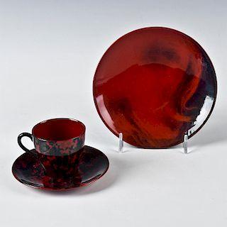 3PC ROYAL DOULTON FLAMBE TEA SET