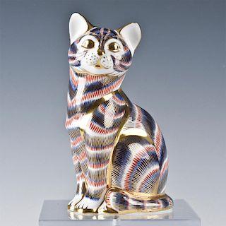 ROYAL CROWN DERBY CAT ANIMAL FIGURINE