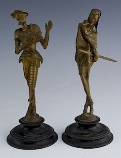 Vintage Pair of Figural Brass Statues Don Quixote