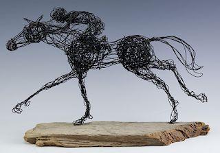 Al Barr 20c American Race Horse Wire Art Sculpture