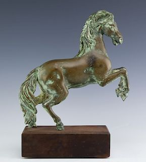 Ancient Style Rearing Horse Cast Bronze Sculpture