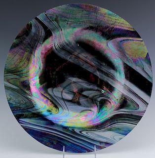 "Large 17"" Iridescent Art Glass Charger Centerpiece"