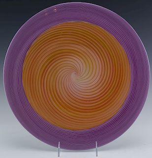 "Church & Maple Studio Art Glass Spiral Charger 14"""
