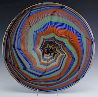 Mystery Studio Art Glass Pulled Feather Charger