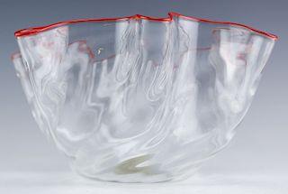 "Studio Art Glass Handkerchief Centerpiece Bowl 10"""